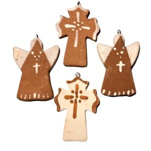 Handmade Pottery Cross & Angel Ornaments Set of 4